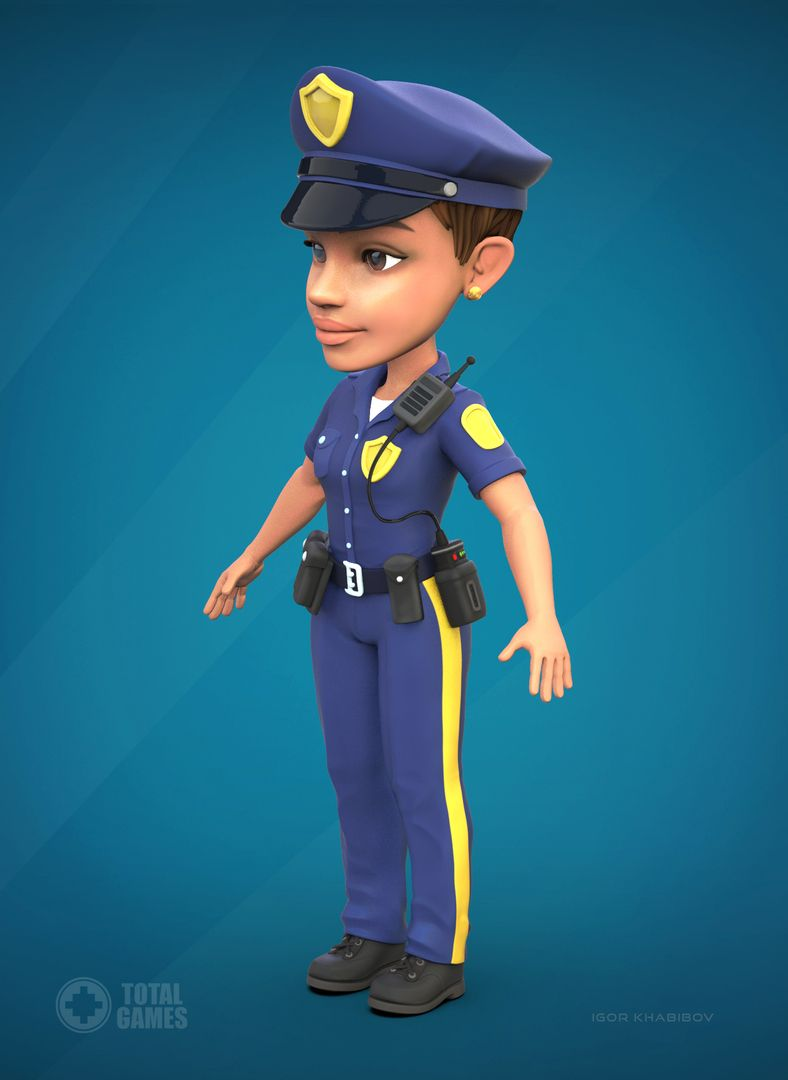 Stylized game character Police 007 jpg