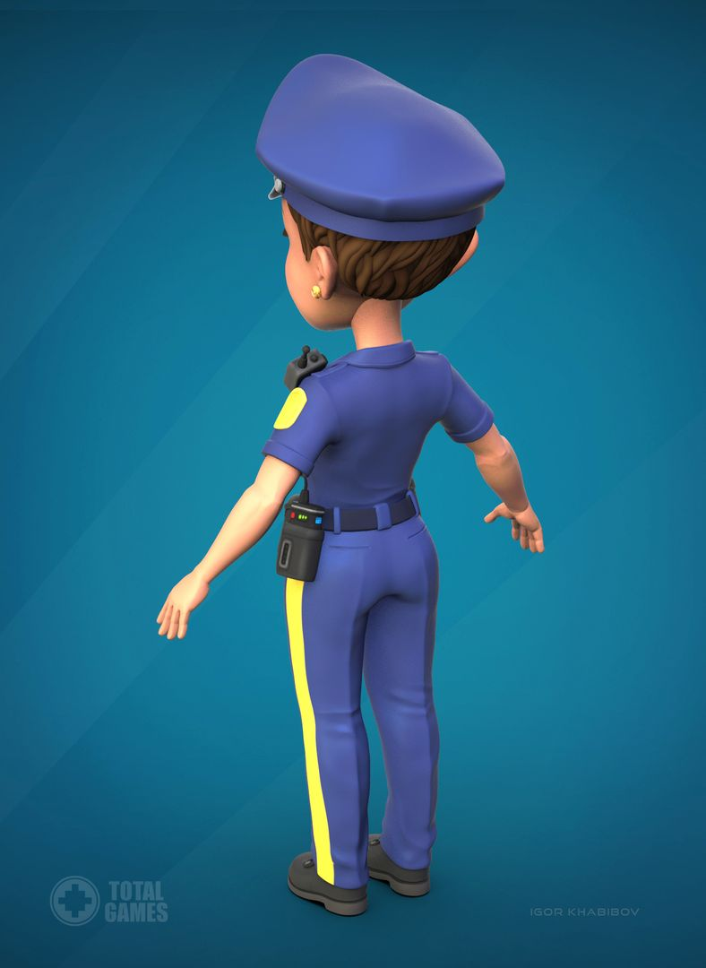 Stylized game character Police 008 jpg