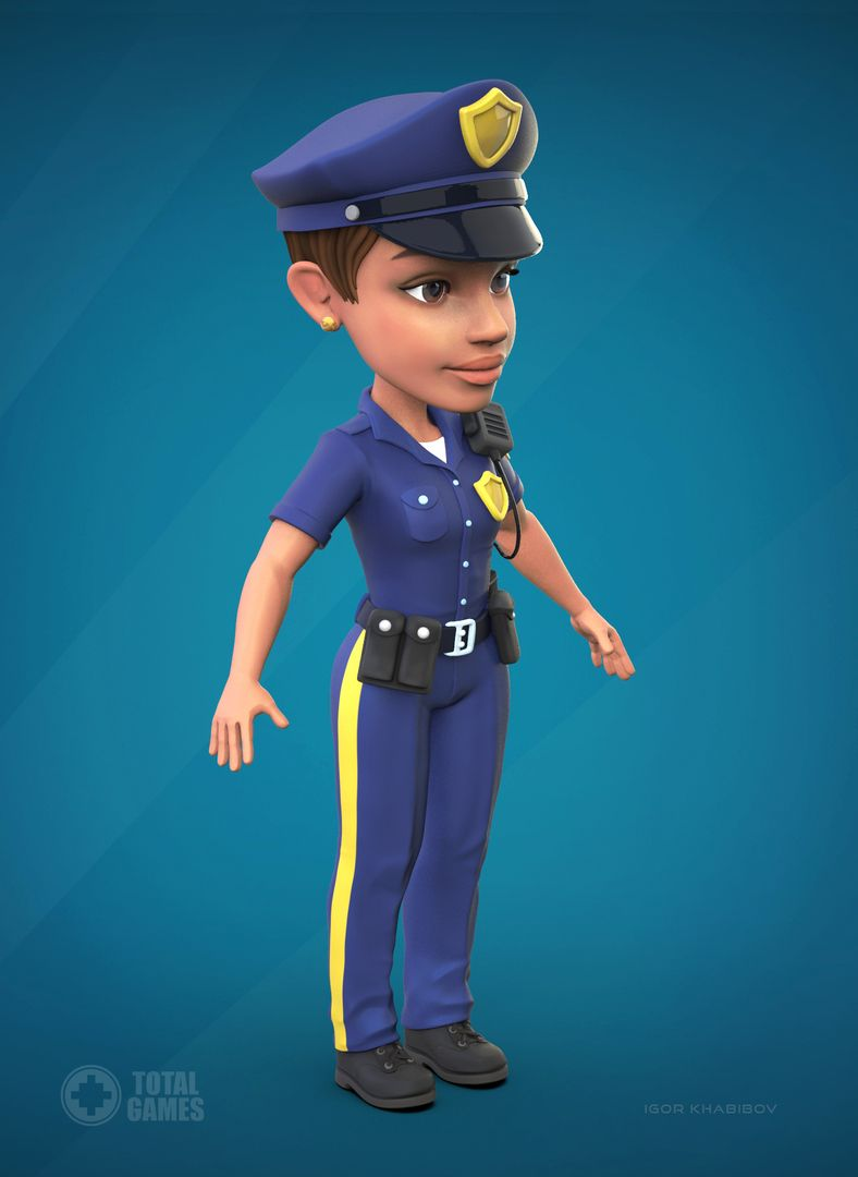 Stylized game character Police 010 jpg