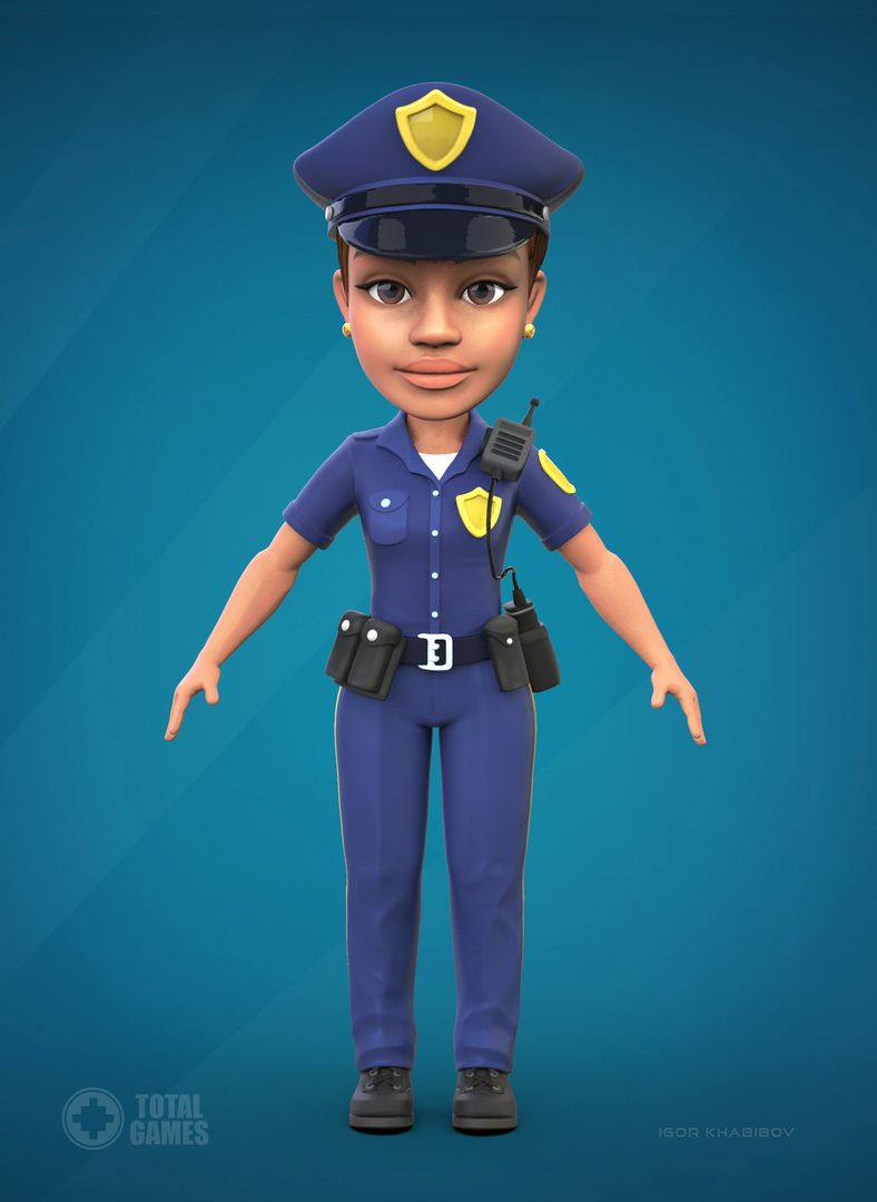 Stylized game character Police 011 jpg