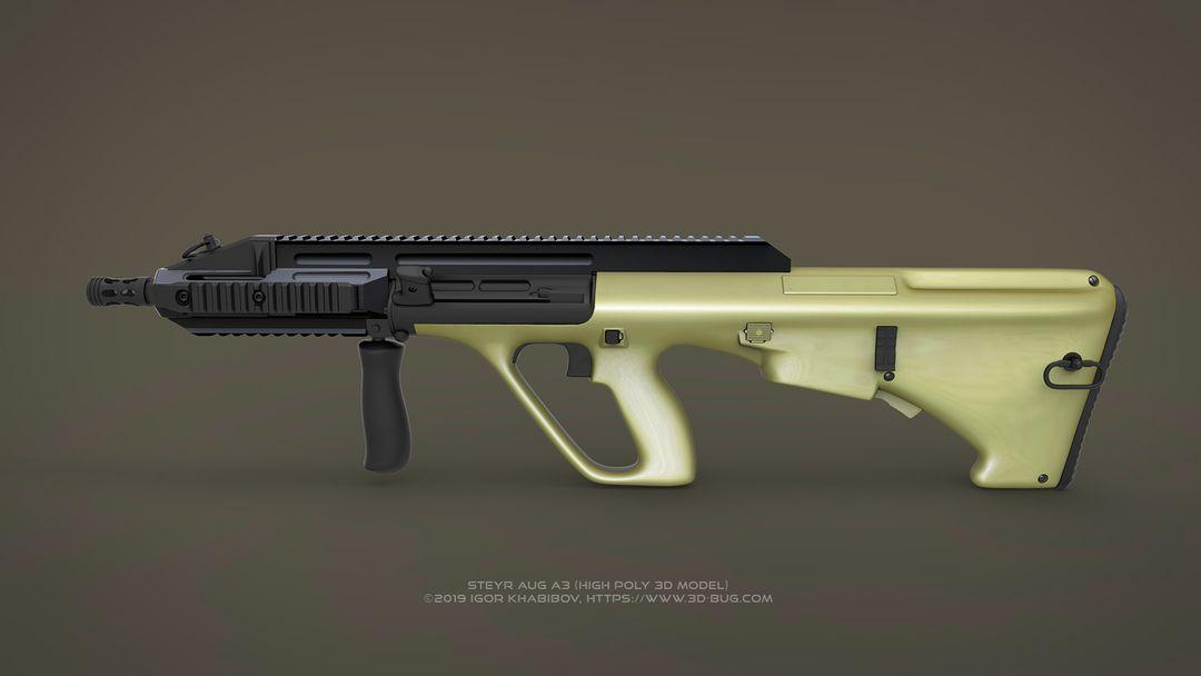 Austrian Bullpup Rifle Steyr AUG A3 (CQC) Steyr render 01 jpg