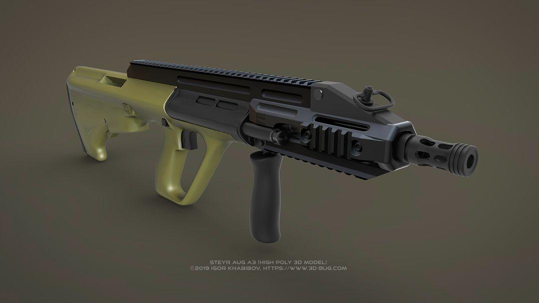 Austrian Bullpup Rifle Steyr AUG A3 (CQC) Steyr render 02 jpg
