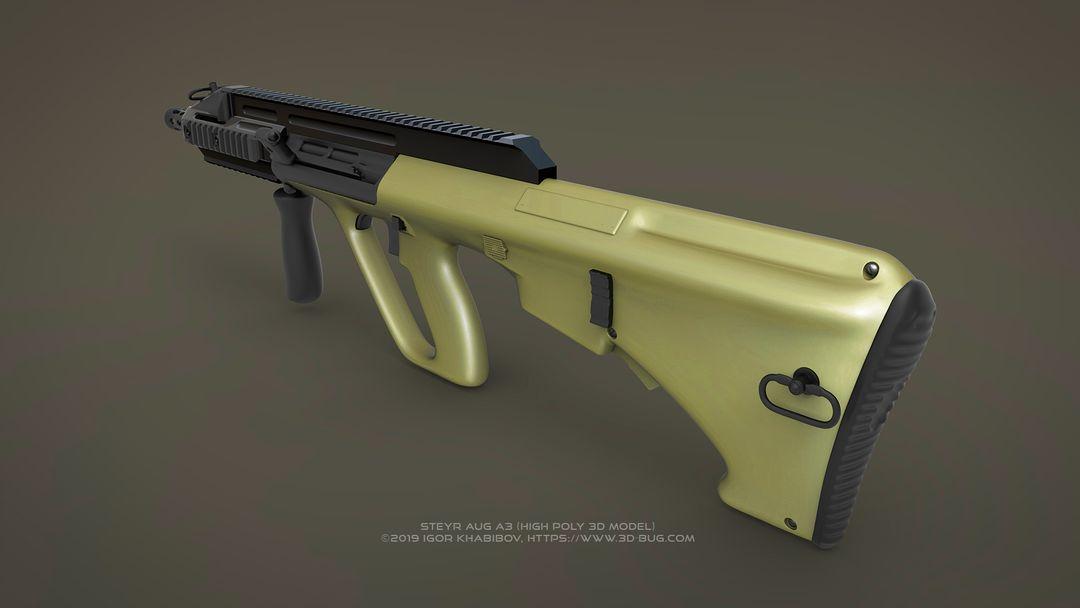 Austrian Bullpup Rifle Steyr AUG A3 (CQC) Steyr render 03 jpg
