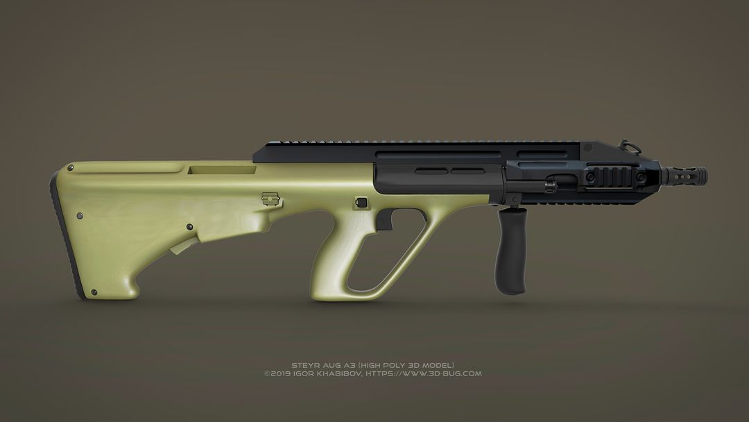 Austrian Bullpup Rifle Steyr AUG A3 (CQC) Steyr render 04 jpg