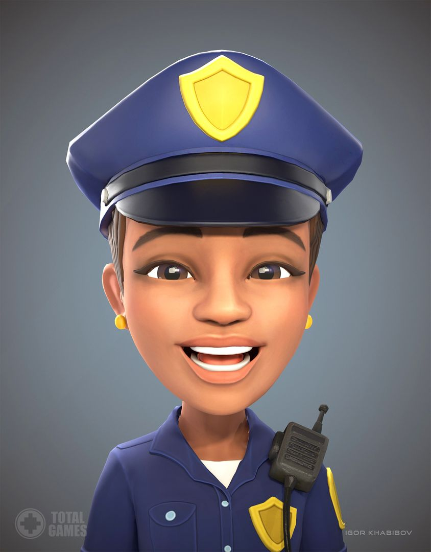 Stylized game character Policewoman expr 001 jpg