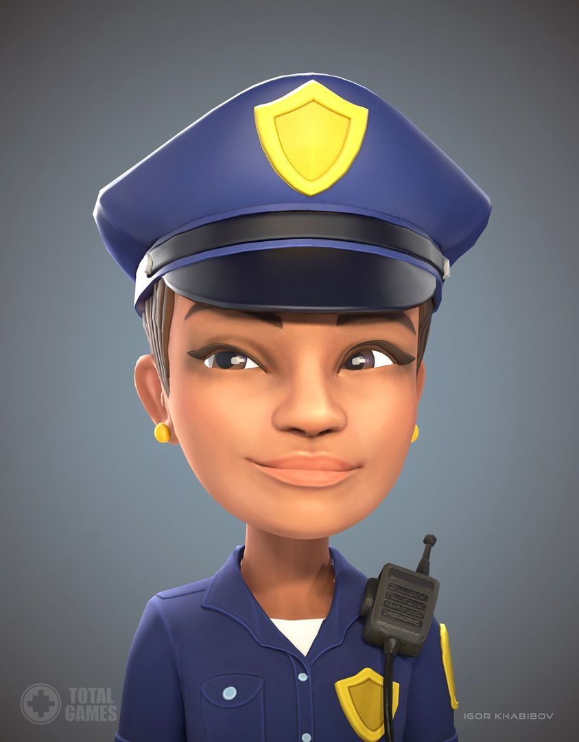 Stylized game character Policewoman expr 002 jpg