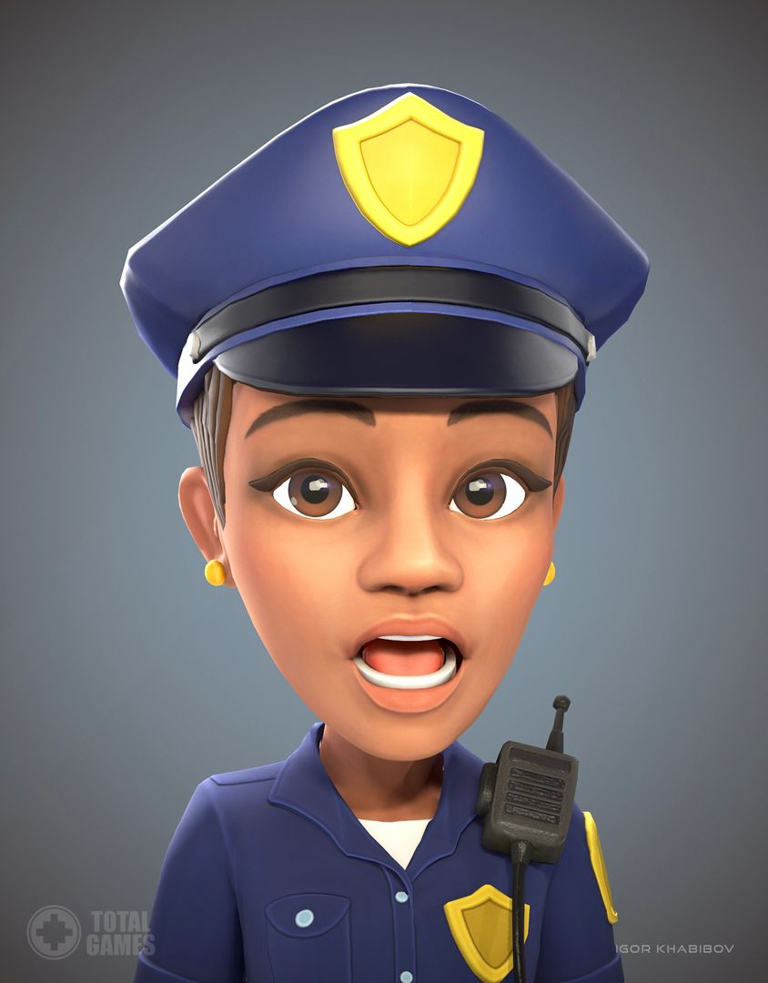 Stylized game character Policewoman expr 003 jpg