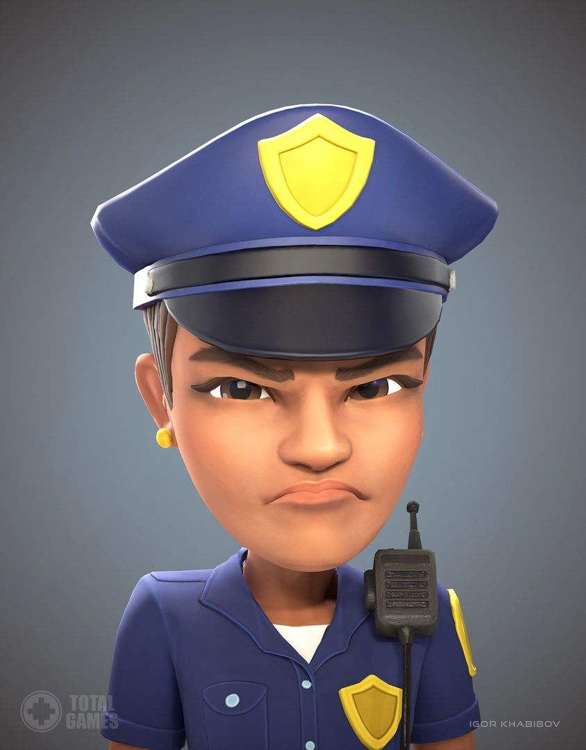Stylized game character Policewoman expr 004 jpg