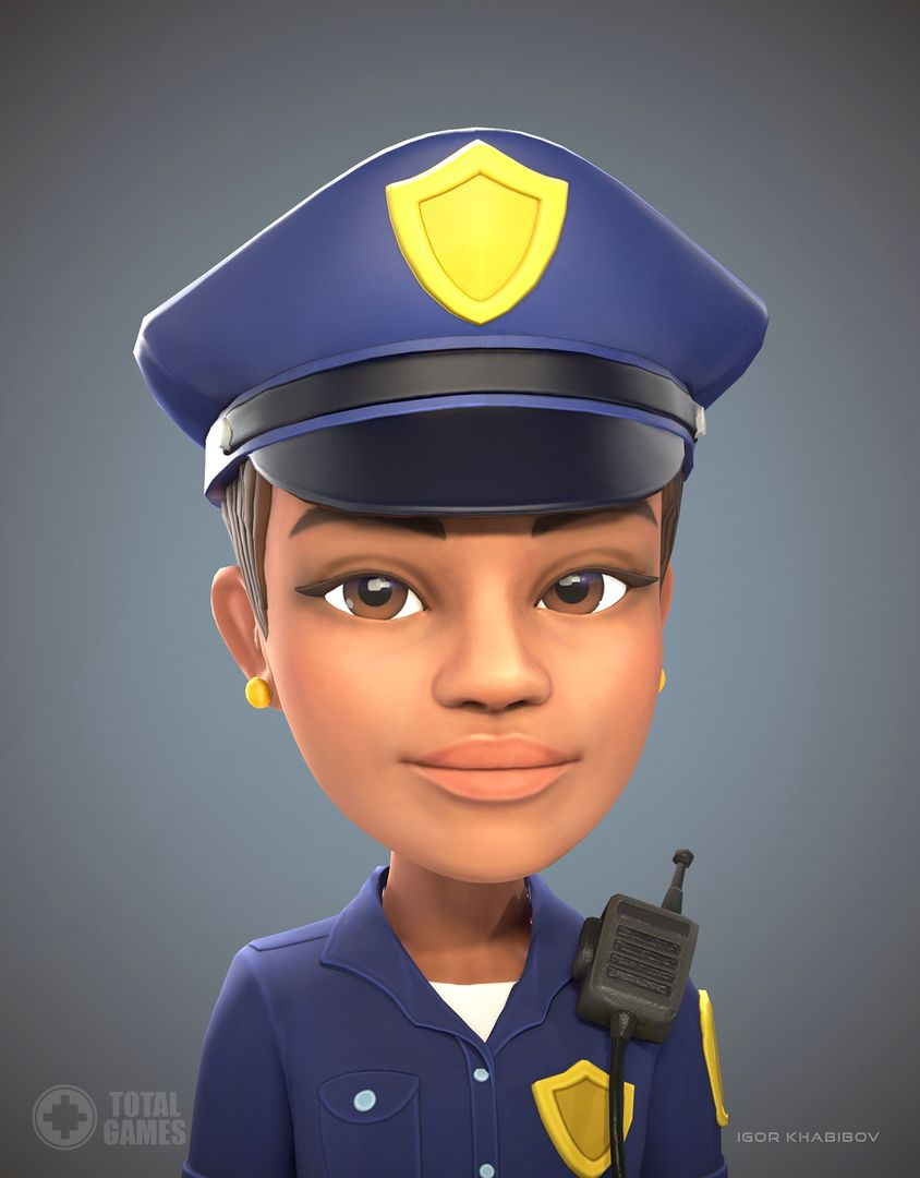 Stylized game character Policewoman expr 005 jpg