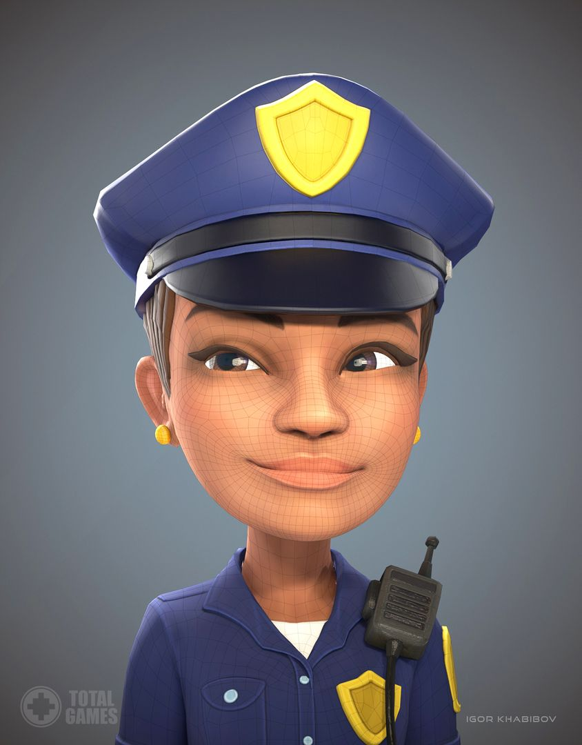 Stylized game character Policewoman expr 007 jpg