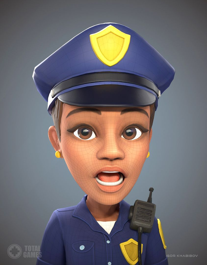 Stylized game character Policewoman expr 008 jpg