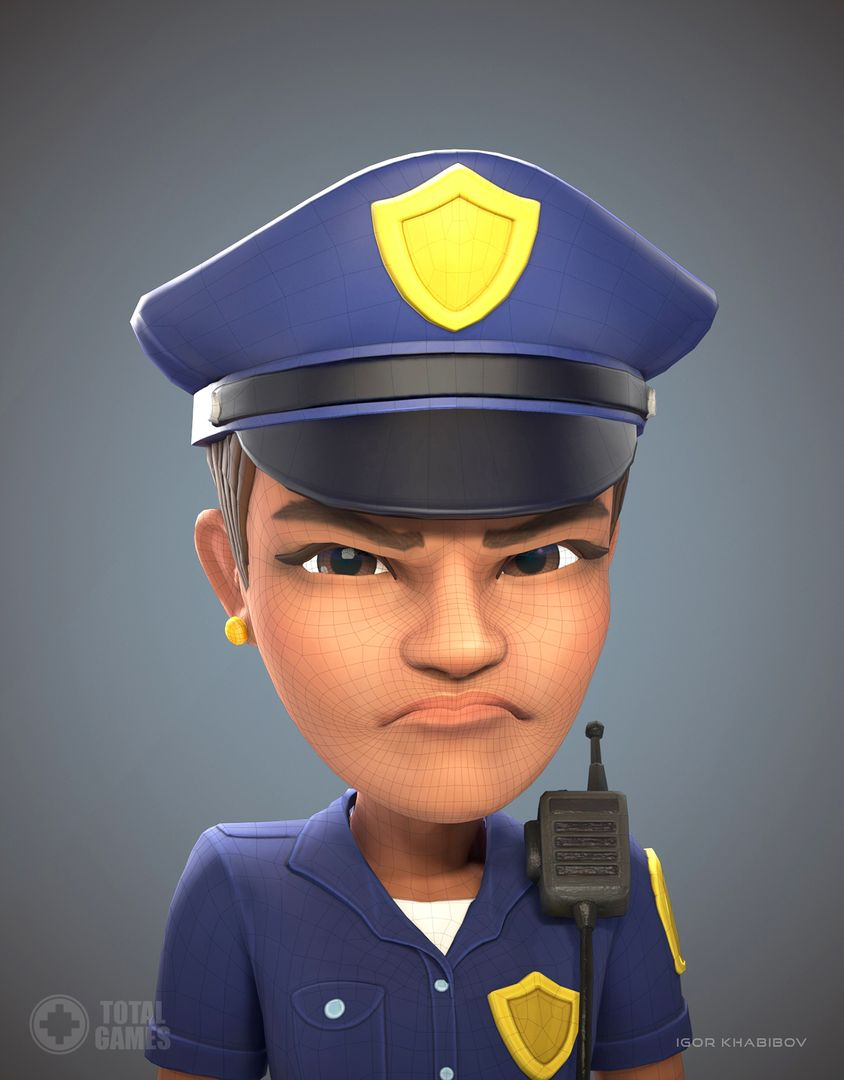 Stylized game character Policewoman expr 009 jpg