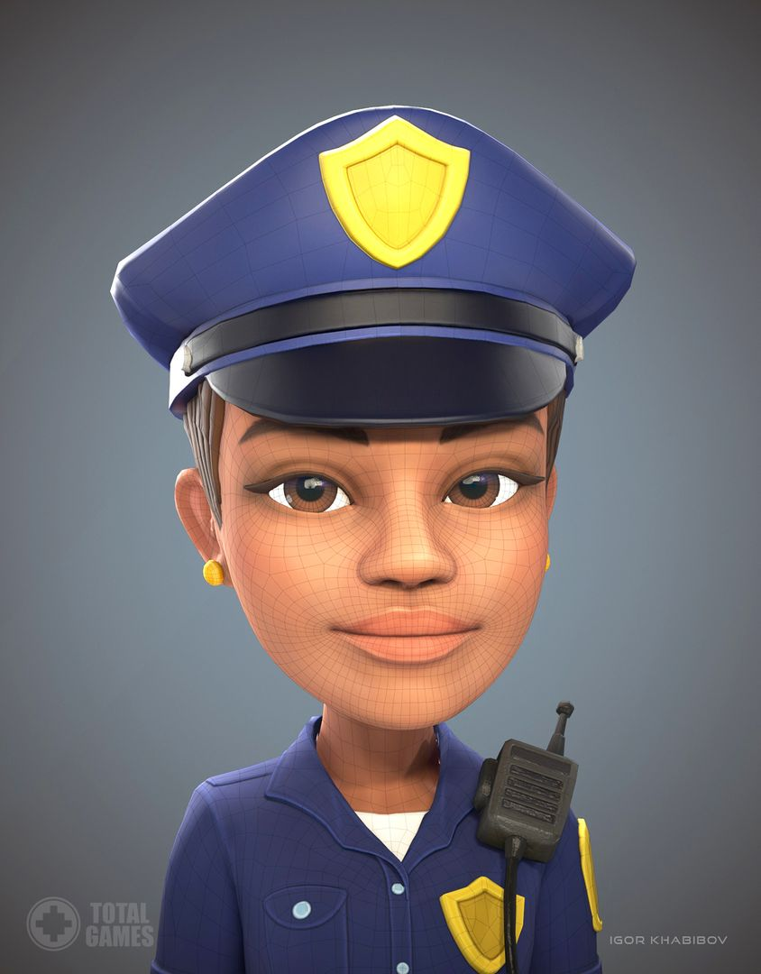 Stylized game character Policewoman expr 010 jpg