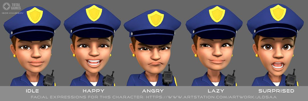 Stylized game character Policewoman expr 011 jpg