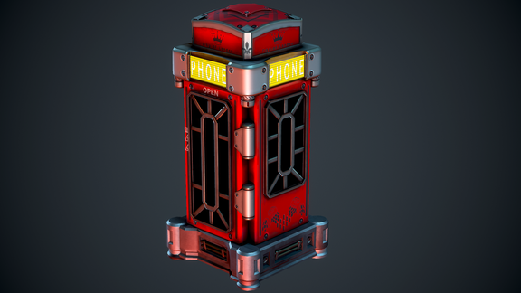 Stylised Cyberpunk London Telephone Box