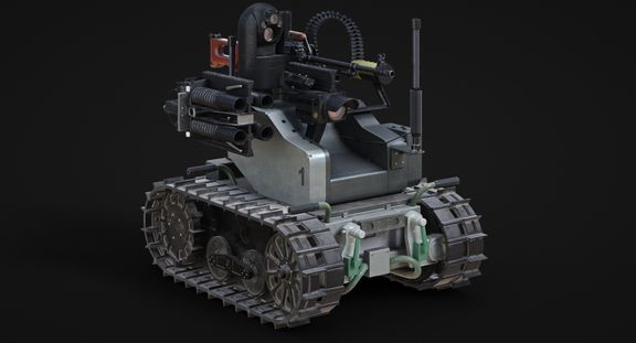 Low Poly Game Military Robot Asset