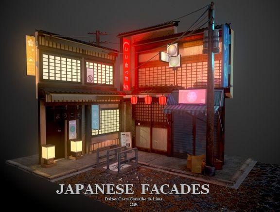 Japanese Facades (night)