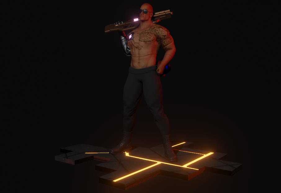Cyberpunk Character Inspired by The Rock Made in Blender 1 png