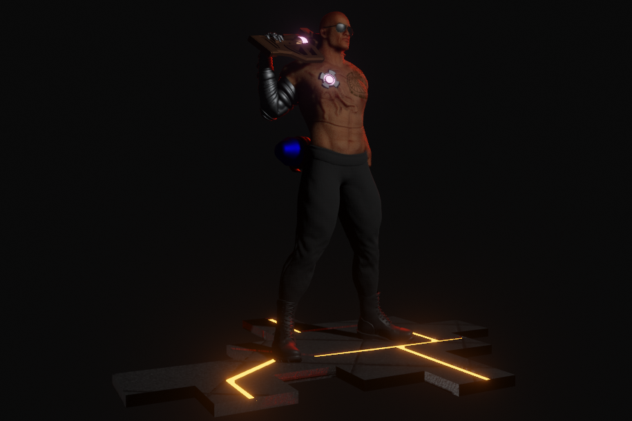 Cyberpunk Character Inspired by The Rock Made in Blender 2 png