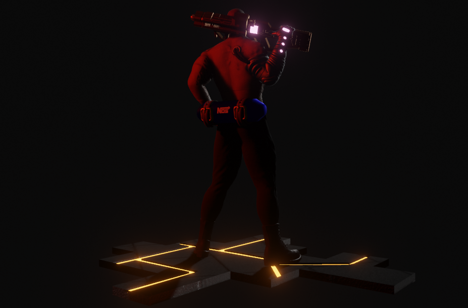 Cyberpunk Character Inspired by The Rock Made in Blender 3 png