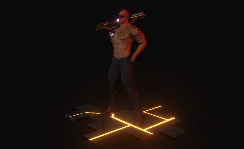 Cyberpunk Character Inspired by The Rock Made in Blender 4 png
