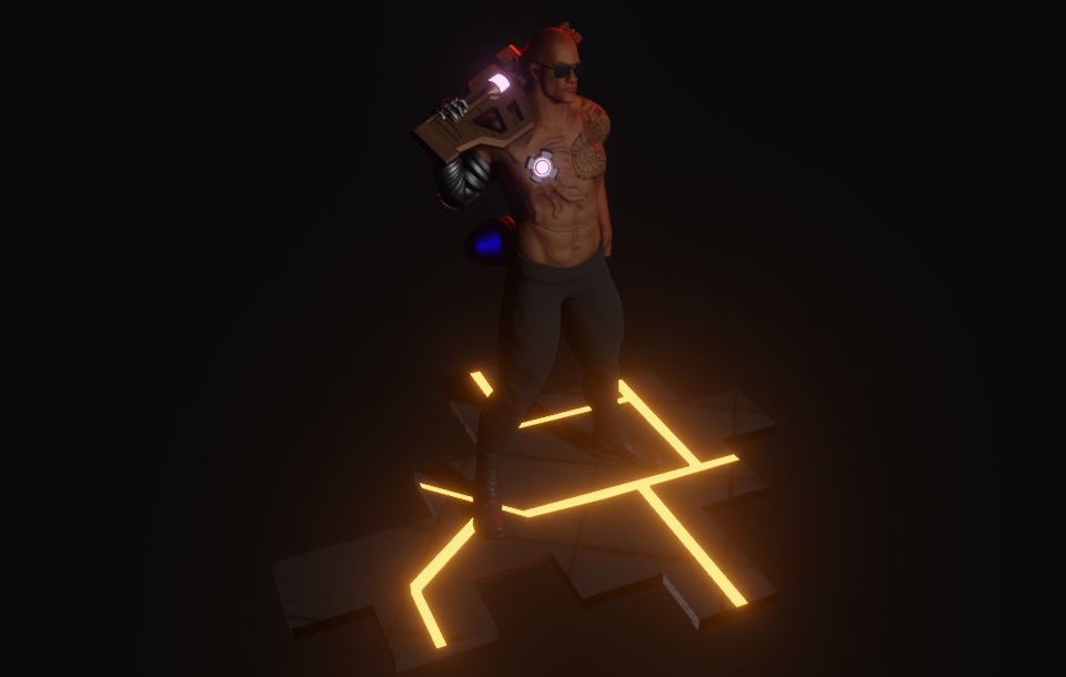 Cyberpunk Character Inspired by The Rock Made in Blender 5 png