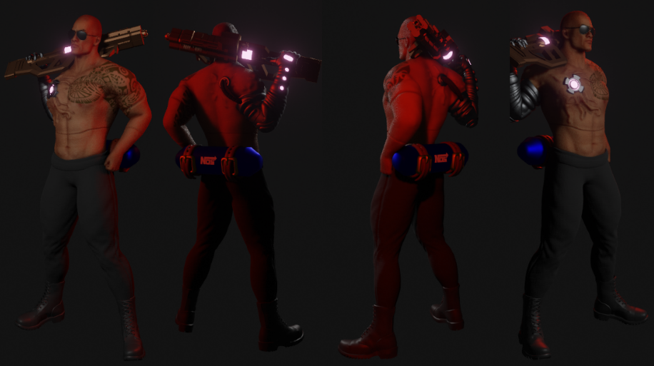 Cyberpunk Character Inspired by The Rock Made in Blender 6 png