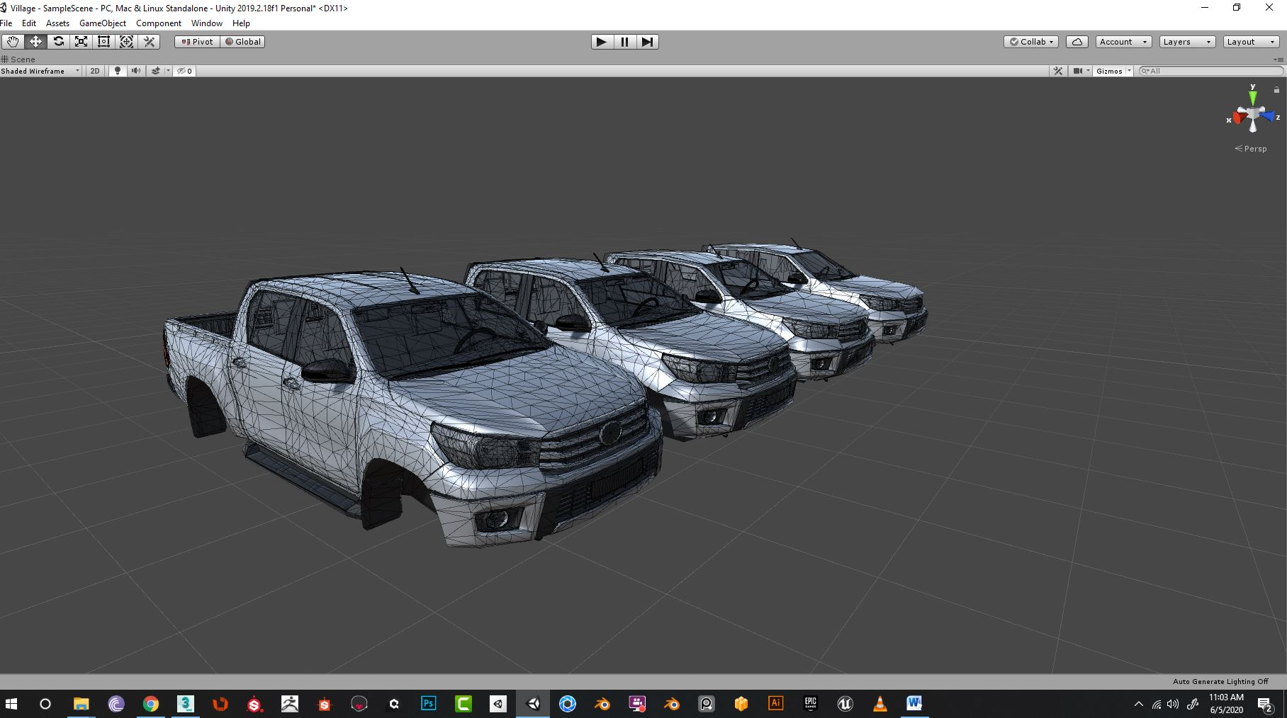 Car_LOD for pc game Wireframe JPG