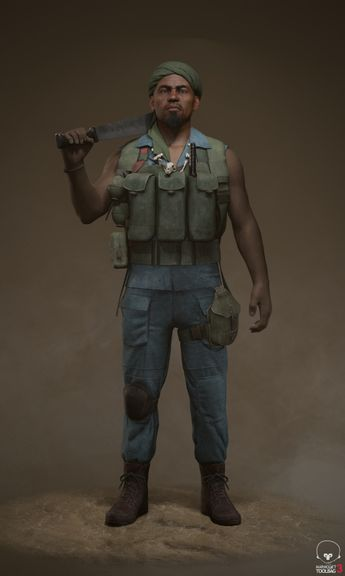 African Mercenary Real-Time Character