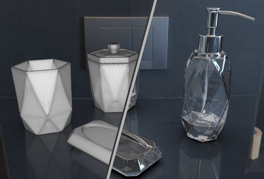Faceted Glass Ware Set irfan haider render thumb jpg