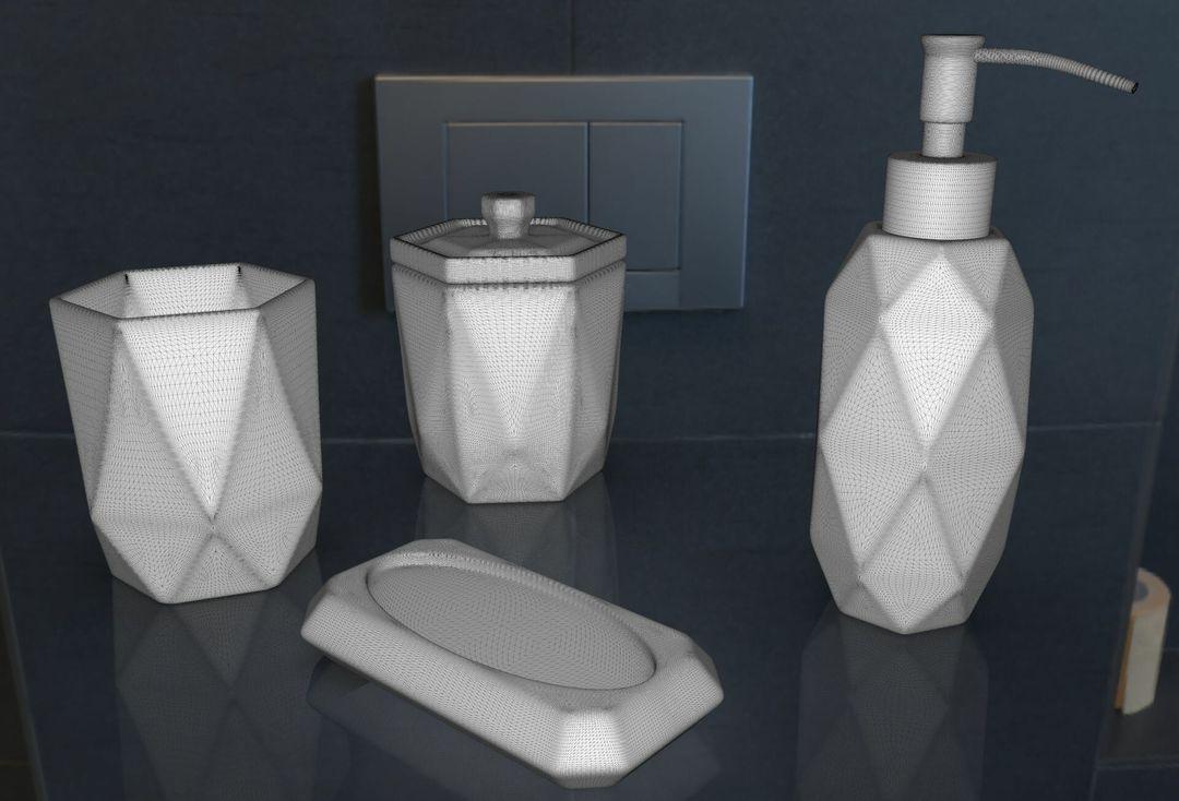Faceted Glass Ware Set irfan haider render wire jpg