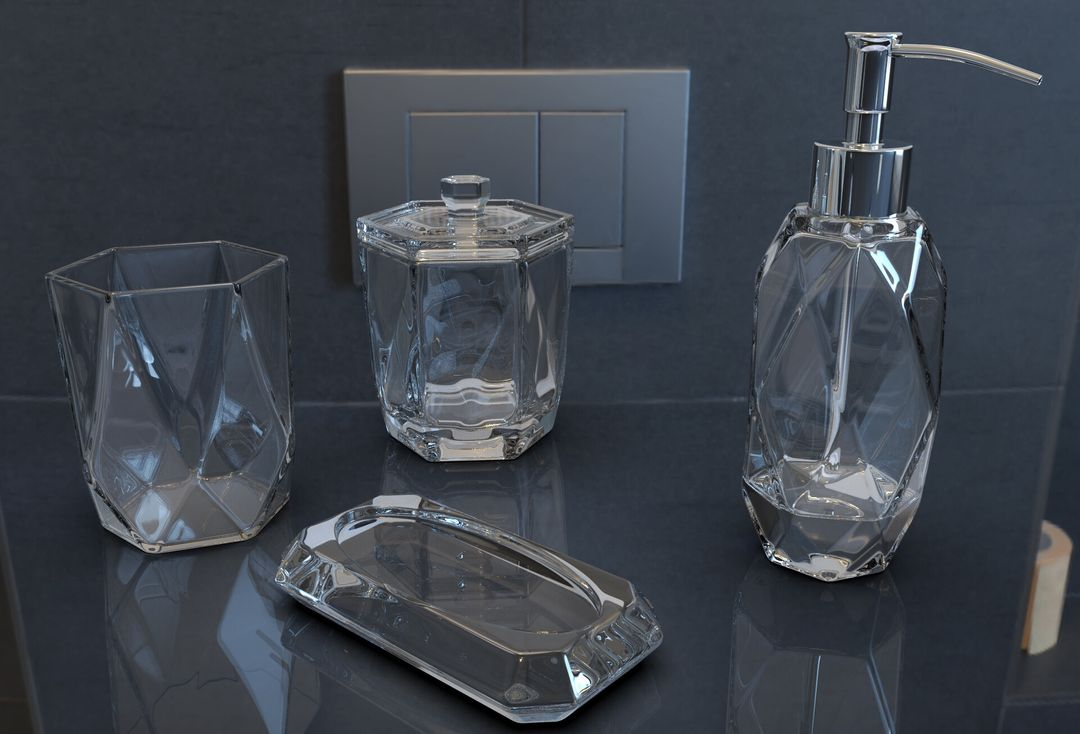 Faceted Glass Ware Set irfan haider render jpg
