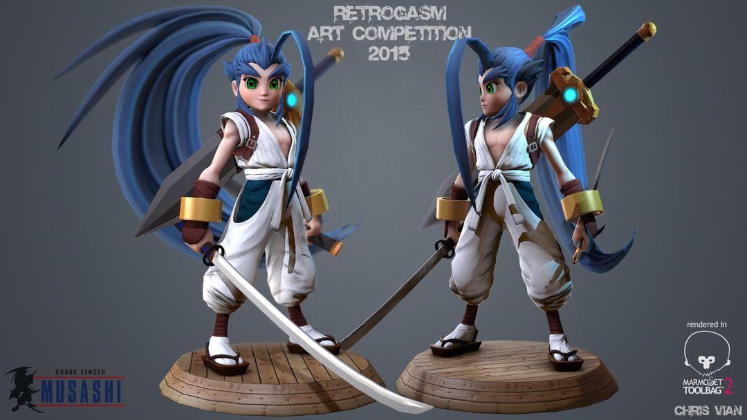 3D Character modeling and Sculpting 7 Brave fencer Musashi jpg