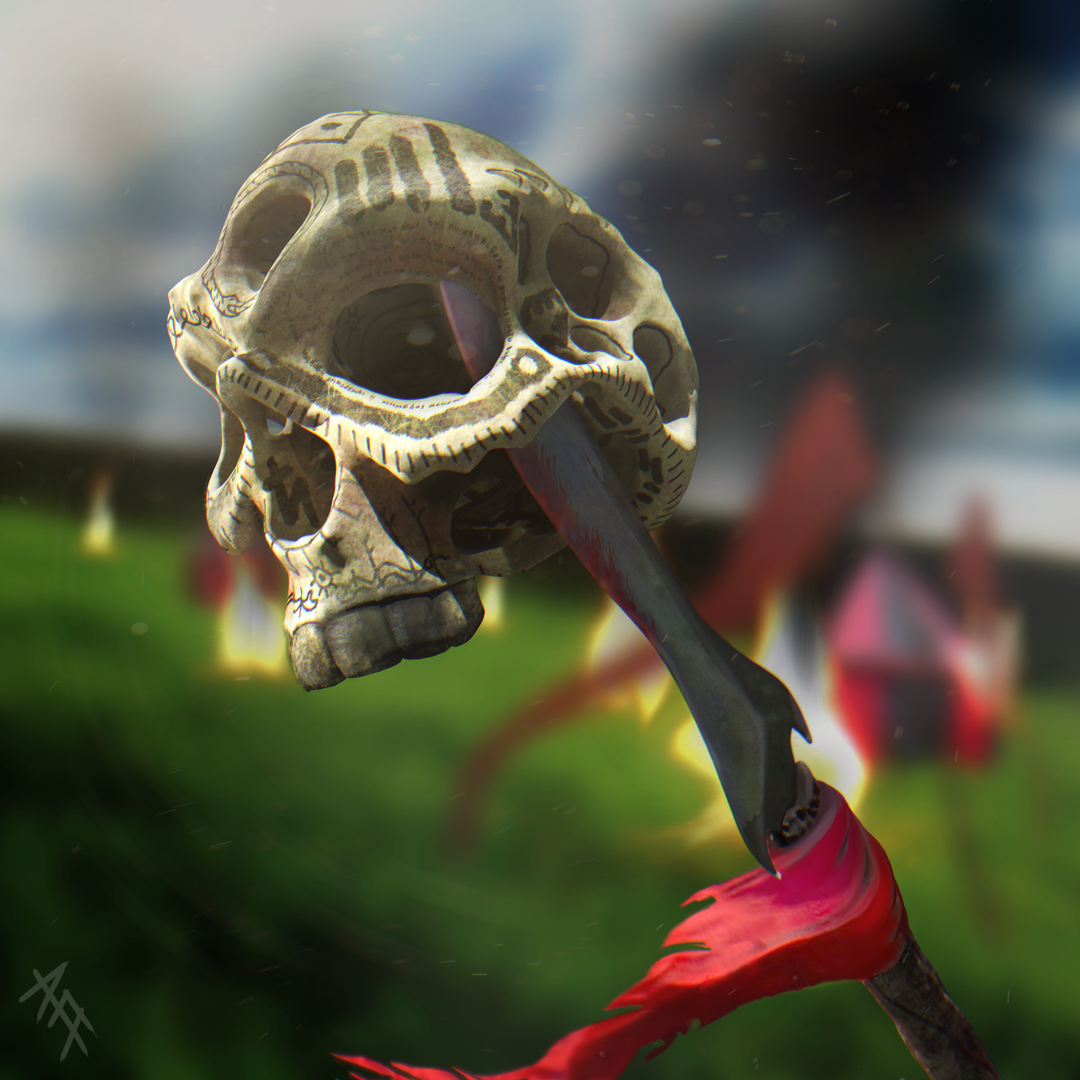 Fantasy Illustration Skull on the Spear png