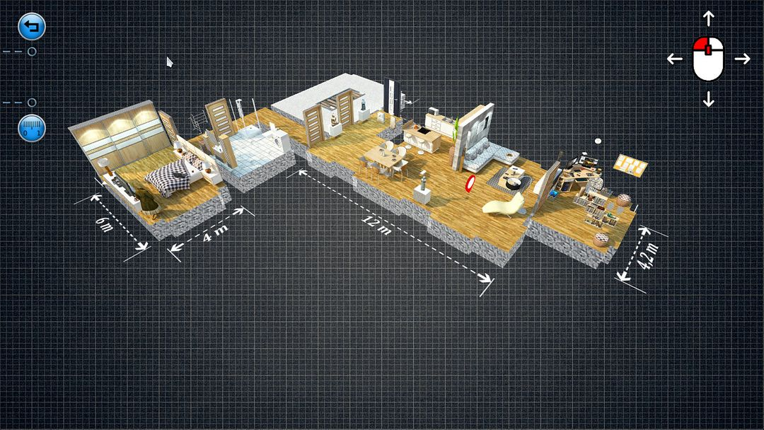 Interactive 3D Architecture (Unreal Engine, Unity3D) Storey inside left jpg
