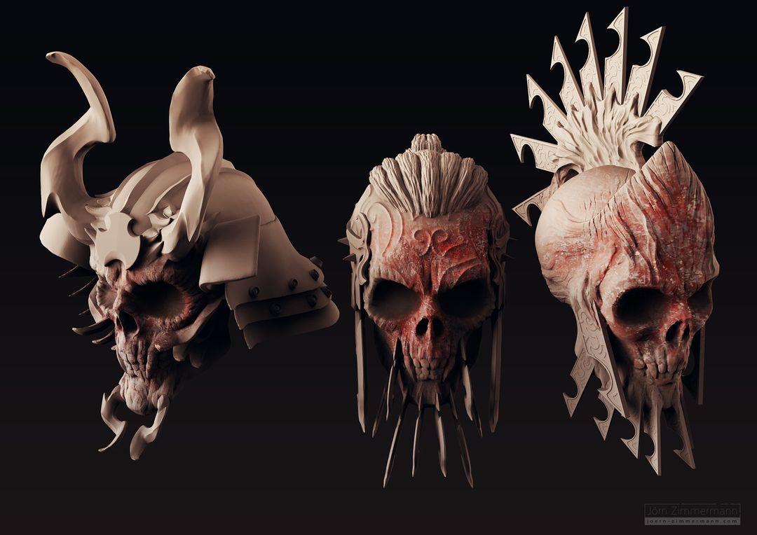 Warrior Skulls jz 3 Skulls Clay jpg