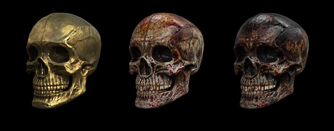 Modelling/Sculpting, optimization and PBR texturing Environmental Props Skull Full UE4 jpg
