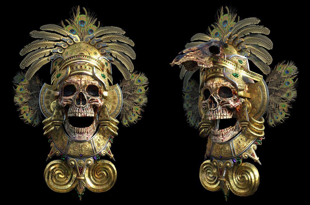 Modelling/Sculpting, optimization and PBR texturing Environmental Props Totem Skull jpg