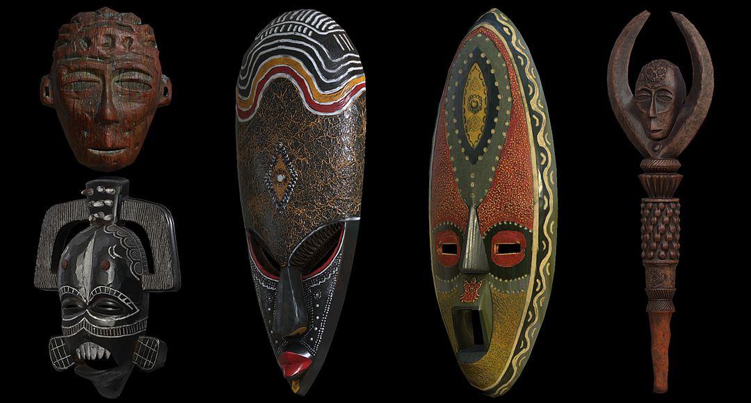 Modelling/Sculpting, optimization and PBR texturing Environmental Props Tribal Masks jpg