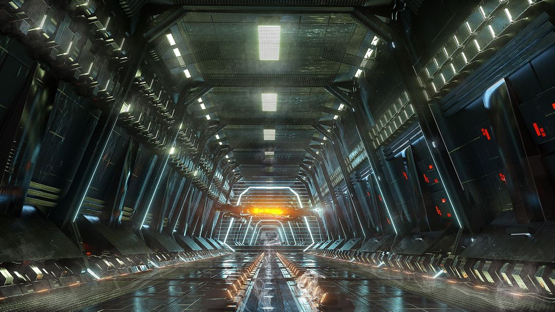 Scifi tunnels/interiors 84 010116 docking bay awaiting clearance  jpg