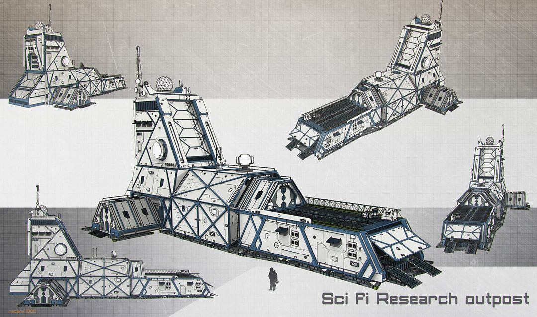 Sci Fi architecture and props Sci fi research outpost jpg