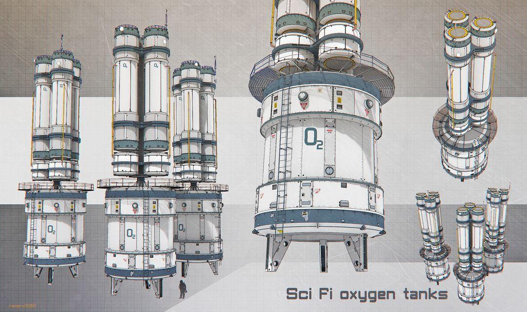 Sci Fi architecture and props sci fi oxygen storage jpg