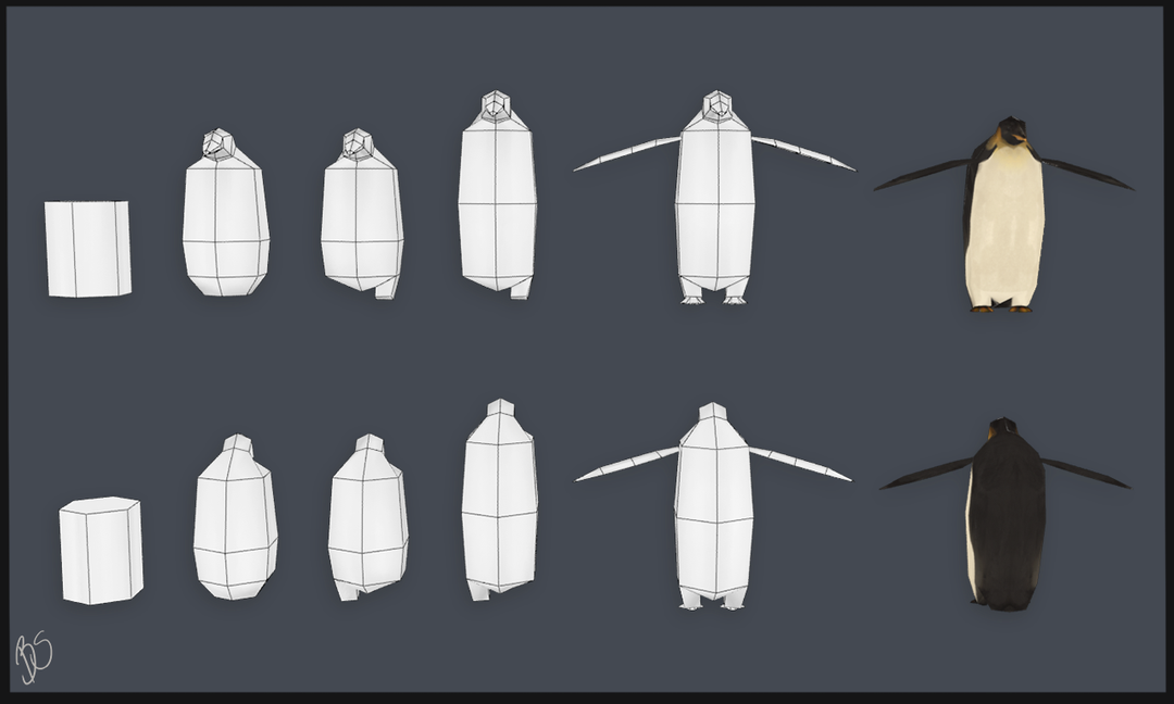 Work Example inertia penguin low poly process png