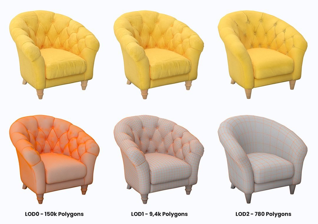 Various armchair models with different levels of details and polygon counts
