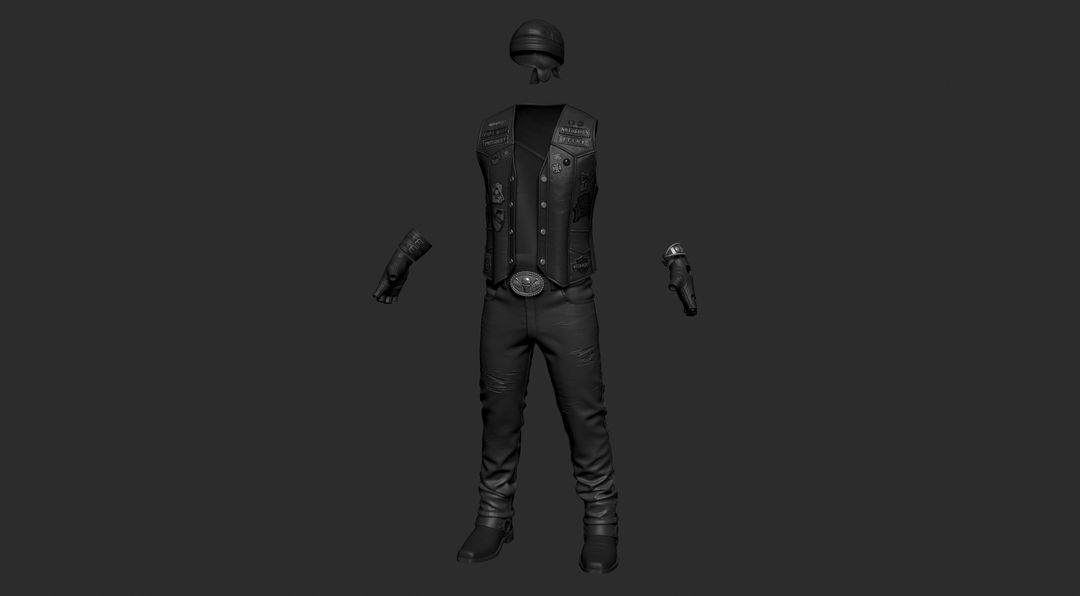 The clothing which has been simulated and brough into ZBrush for final detailing