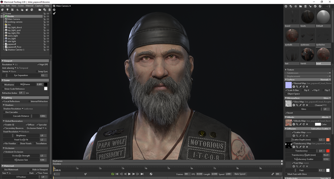 The Biker character rendered within Marmoset Toolbag