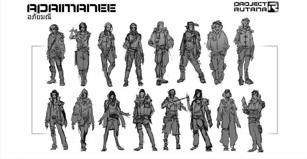 Initial concept sketches of characters