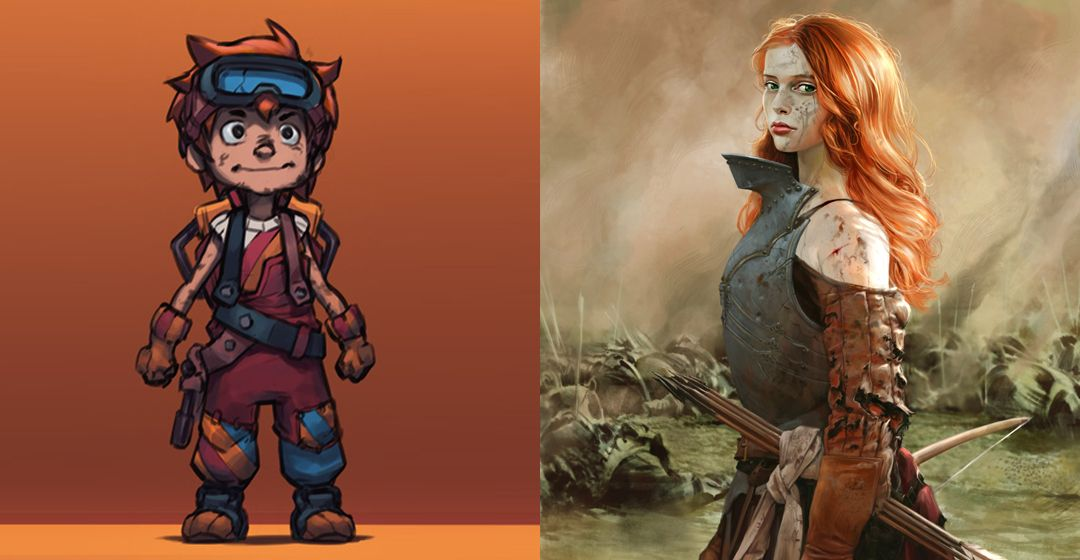 Examples of stylised and realistic character concept