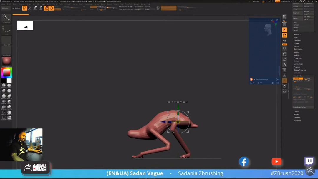 Applying the adaptive skinning