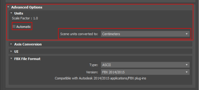 Export settings in 3ds Max